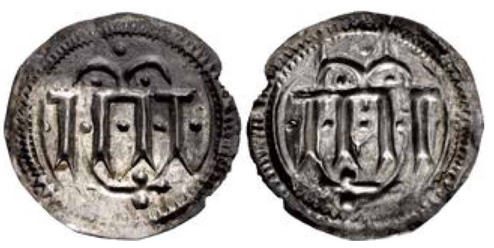 DENMARK. Harald Blåtand (Bluetooth). Circa 958/9-986. AR Halvbrakteat (18mm, 0.29 g, 6h). Imitating class 2 deniers of Charlemagne from Dorestadt. Haithabu (Hedeby) mint. Struck circa 960s-970s. Four parallel vertical lines; double crescent above; additional pellets around / Incuse of obverse. Grierson, Coins of Medieval Europe 121; EF. Very rare