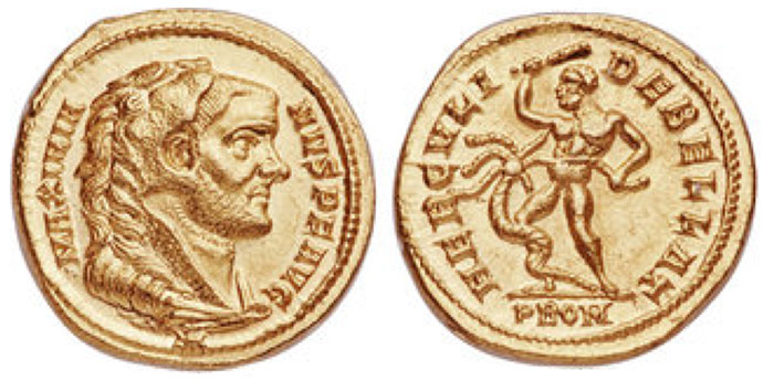 Maximian, First Reign (286-310 CE). AV aureus (18mm, 5.59 gm, 6h). NGC Choice MS 5/5 - 4/5, Fine Style. Rome, 293-294 CE. MAXIMIA-NVS P F AVG, head Maximian right, wearing lion skin headdress, paws tied before neck / HERCVLI-DEBELLAT, Hercules standing left, battling the Lernaean Hydra, club in upraised right hand and preparing to strike one of the hydra's heads, another head grasped with his left hand, its serpentine body wrapped about his right leg; PROM in exergue. RIC - (unknown at time of publication). Calicó 4661.