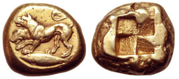 Mysia, Kyzikos EL Stater. Circa 500-450 BCE. Cerberus standing to left on tunny fish / Quadripartite incuse square. Von Fritze 10; Boston 1538. 15.90g, 19mm.