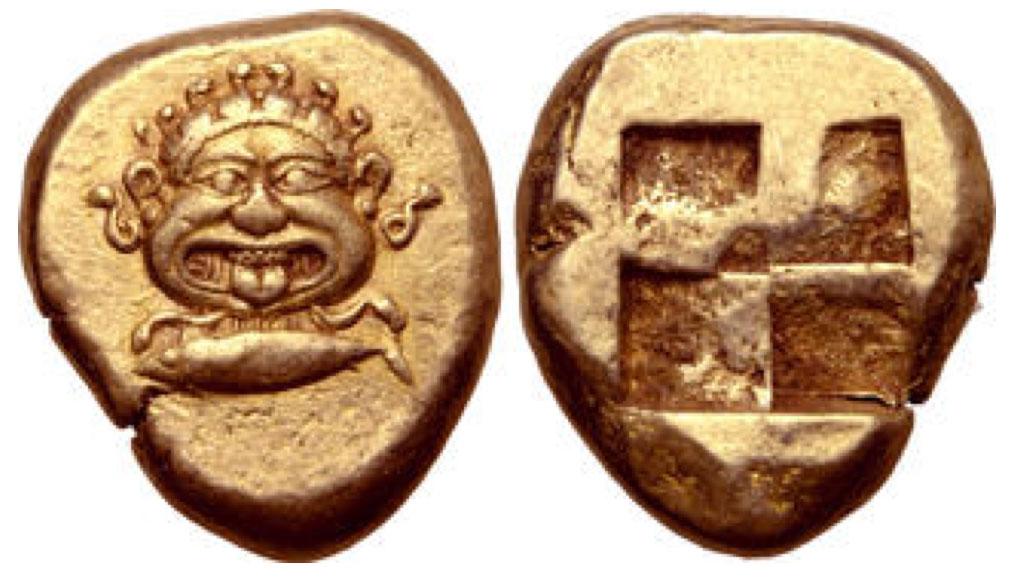 Mysia, Kyzikos EL Stater. Circa 500-450 BCE. Facing gorgoneion with mouth open and tongue protruding, six serpents on top of head, another below each ear; below, tunny fish to left / Quadripartite incuse square. Von Fritze 129, pl. IV, 15; Boston MFA 1445 = Warren 1492.