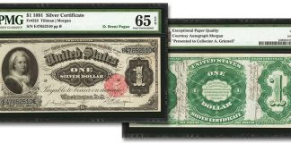 "Fr.223 1891 $1 ""Martha Washington"" Silver Certificate. Images courtesy Stack's Bowers Auction"