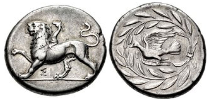 SIKYONIA, Sikyon. Circa 335-330 BCE. AR Drachm (20mm, 5.80 g, 11h). Chimaira standing left, raising right forepaw; ΣI below / Dove flying left; I below neck; all within olive wreath with ties to right. BCD Peloponnesos 232 (this coin); HGC 5, 209; BMC 109–10; Jameson 2301 (same obv. die); McClean 6253 (same dies). VF From the RH Collection. Ex BCD Collection (LHS 96, 8 May 2006), lot 232.