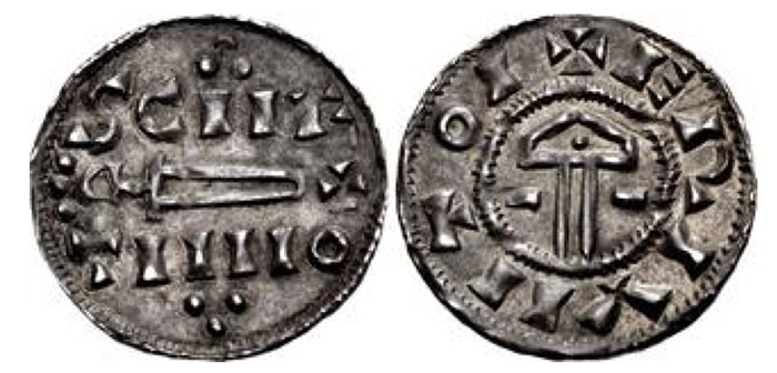 Anglo-Viking (Hiberno-Norse Northumbria). St. Peter coinage. Circa 921-927. AR Penny (19mm, 1.19 g, 3hh). Sword/Hammer type. York mint. Struck under Sihtric II Caech. SCIIE/TIIIIO in two lines, voided sword and cross between, trefoils above and below / + ERIVIITOI, voided hammer, pellet in head; horizontal lines flanking. Stewart & Lyon dies 26a; SCBI 4 (Copenhagen), 591 (same dies); BMC –; North 556; SCBC 1015 (this coin illustrated, 54th ed.). Very rare.