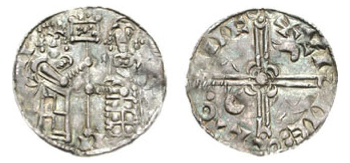DENMARK. Sven Estridsen. 1047-1075. AR Pennig (0.94 g, 12h). Lund mint, Wulfet, moneyer. [SV]II I II, angel standing right, handing banner to king standing left / +VL(ligate)I-NE: CTO.IIIC, voided long cross with triple crescent ends; lunettes in second and third quarters. Hauberg 8 var. (legends); Hauberg (Hede) 837; cf. DNM 57/2. VF, iridescent toning, typical wavy flan. ($400)