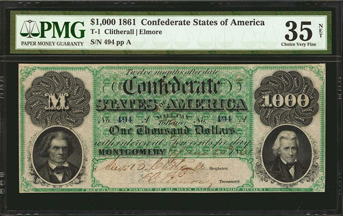 """Additionally, the auction will feature a fine collection of Confederate Treasury notes from the Q. David Bowers Collection. Among the highlights of the collection are pleasing examples of all """"Big Six"""" types, including a T-1 1861 $1000 in PMG Choice Very Fine 35 Net, estimated at $25,000-$35,000, and a T-2 1861 $500 PMG graded Very Fine 30 and estimated at $20,000-$30,000."""
