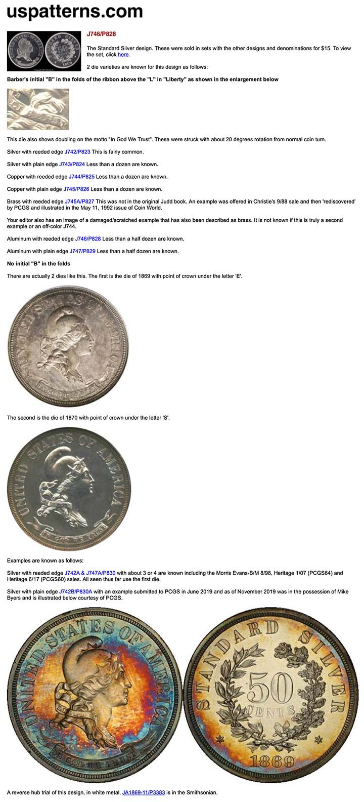 uspatters.com screen grab for standard silver half dollar J-746b. Courtesy Mike Byers