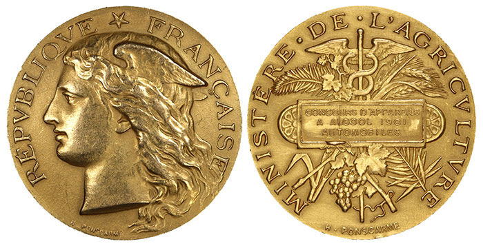 A gold medal prize from the 1901 Ministry of Agriculture.