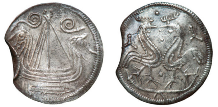 AR Penny. Haithabu (Hedeby) Ship, two roosters confronted Source: Moesgaard & Kastholm (2014) page 104