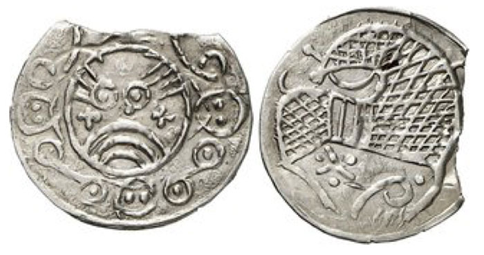 Denmark anonymous, approx. 870 - 900. AR Penny. Haithabu (Hedeby). Stylized, bearded Viking face in Arabesque circle. / Horse running right, looking to the left, various markings. 0.88 g. Hauberg Tf. I., cf. 6