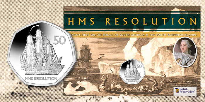 First 50p From South Georgia and South Sandwich Islands to Feature HMS Resolution