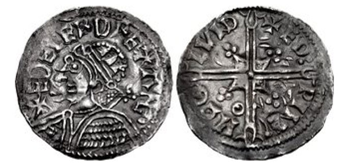 Kings of All England. Cnut. 1016-1035. AR Penny (19mm, 1.11 g, 6h). Quatrefoil type (BMC viii, Hild. E). London mint; Beorhtnoth, moneyer. Struck circa 1016-1023. + CNVT REX ANGLORV, crowned and draped bust left within quatrefoil / + BR IHTN ΘD L VND, voided long cross with triple-crescent ends and pellet at center; all over quatrefoil. Grierson, Coins of Medieval Europe, p. 72; SCBI 14 (Copenhagen), 2200 (same dies). Classical Numismatic Group Triton XXIII. 14 January 2020. Lot : 1238. Realized: 950 USD