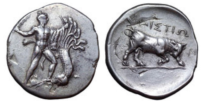 Crete, Phaistos AR Stater. Mid-Late 4th century BCE. Herakles standing in fighting attitude to right, wearing Nemean lion skin, seizing with his left hand one of the heads of the Lernean Hydra, and with his right hand preparing to strike with club; by right foot, crab on exergual line / ΦΑΙΣΤΙΩ, Bull butting to right on wavy exergual line. Cf. Svoronos 66, pl. 24, 22. 11.47g, 28mm, 7h.