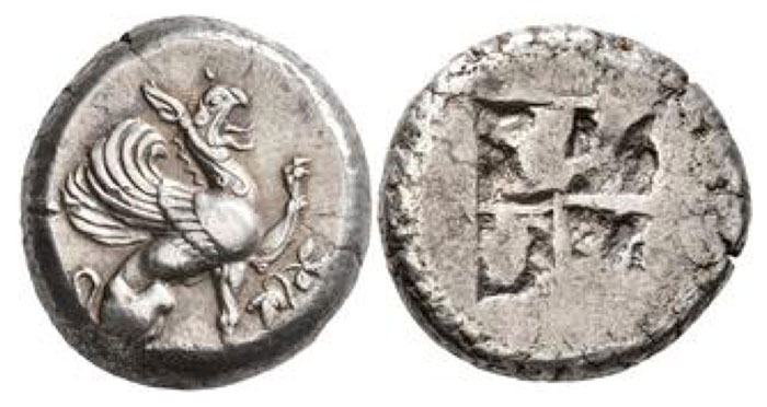 IONIA. Teos. Circa 510/05-495/90 BCE. Stater (Silver, 21 mm, 11.98 g). Griffin, with open jaws and two curved tendrils falling down his neck, seated to right, his left forepaw raised; before, grape cluser and leaf. Rev. Quadripartite incuse square. Balcer 15 (A15/P27). SNG Lockett 2851 (same dies). A boldly struck coin with a griffin of splendid style.