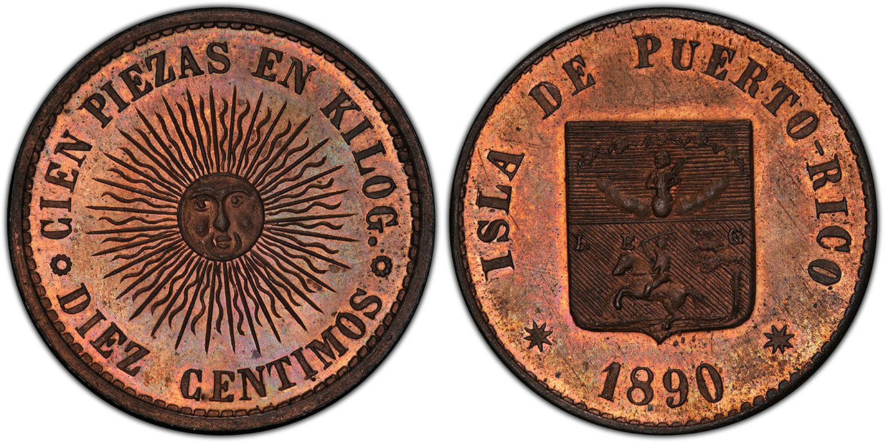 PUERTO RICO. Alfonso XIII. 1890 CU Pattern 10 Centimos. PCGS SP65RB (Red-Brown). Images courtesy Atlas Numismatics