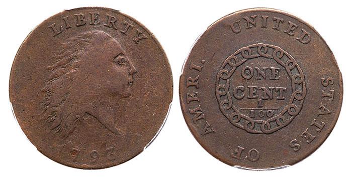 1793 'AMERI.' Chain Cent in F-15