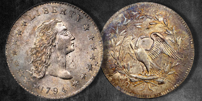 Left: The Famous Lord St. Oswald-Norweb 1794 Flowing Hair Silver Dollar. Right: The Taffs-Miles-Blue Moon 1794 Dollar Reverse. Both Images Courtesy: Stack's Bowers.