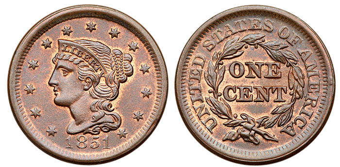 1851 Large Cent in MS-65 BN