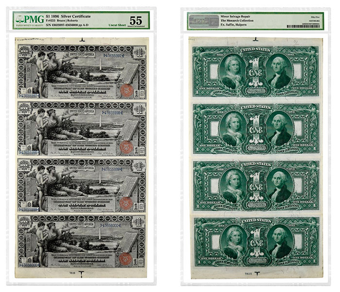 Uncut sheet of four 1896 $1 Silver Certificates graded PMG 55 About Uncirculated.