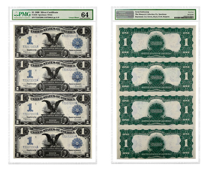 "Uncut sheet of four 1899 $1 ""Black Eagle"" Silver Certificates graded PMG 64 Choice Uncirculated."