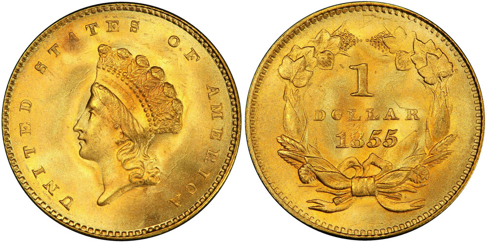 Lot 7321: PCGS/CAC MS67+ 1855 Gold Dollar. Images courtesy Stack's Bowers Auctions, Pogue VII
