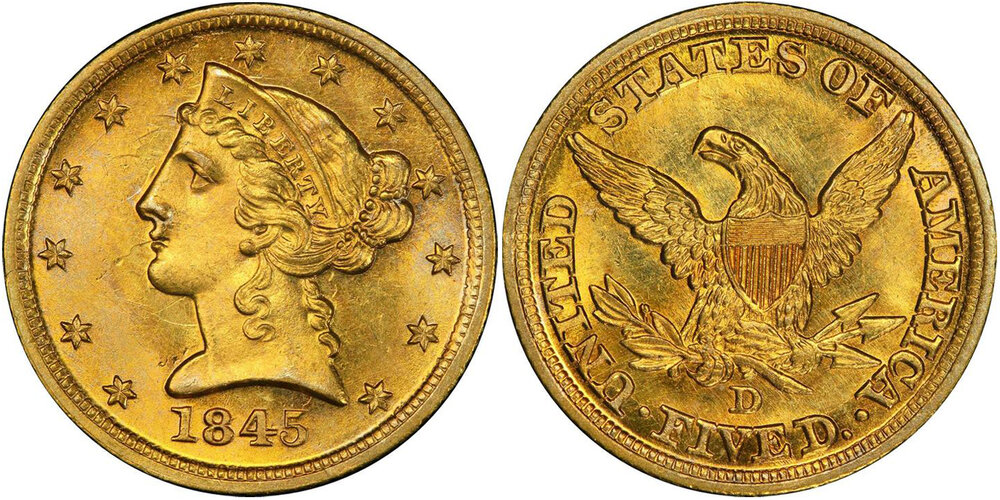 LOT 7334: PCGS/CAC MS65 1845-D HALF EAGLE, courtesy Stack's Bowers Pogue VII Sale