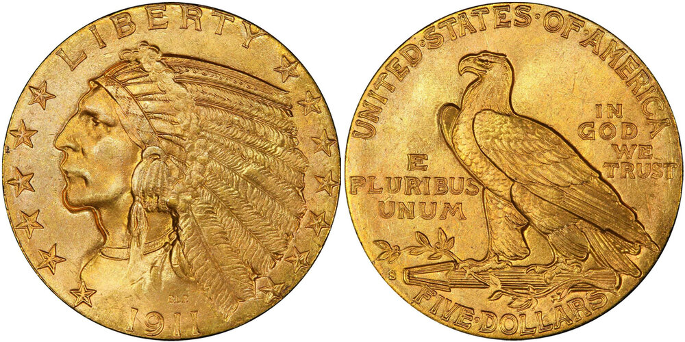 Lot 7337, PCGS/CAC MS66 1911-S HALF EAGLE, courtesy Stack's Bowers, Pogue VII Sale