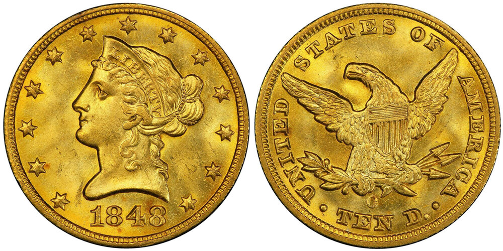 LOT 7338: PCGS/CAC MS66 1848-O EAGLE, courtesy Stack's Bowers, Pogue VII Sale