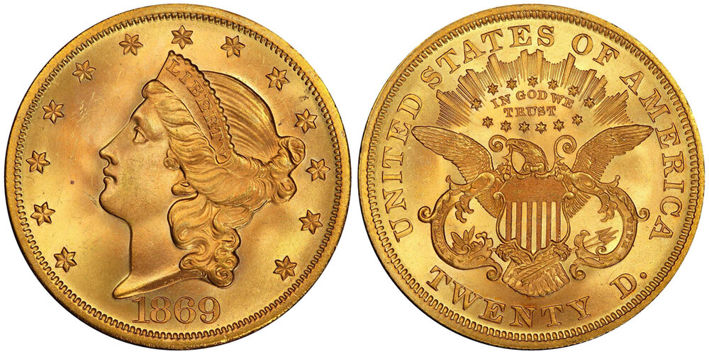 Lot 7348, PCGS MS66 1869 DOUBLE EAGLE, courtesy Stack's Bowers, Pogue VII Sale