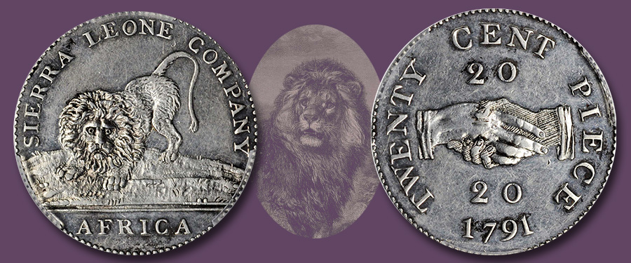 Initial Numismatic Offerings of the Sierra Leone Company. Images courtesy Stack's Bowers