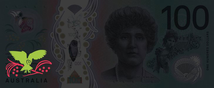 New 100 dollar note as viewed under blacklight.