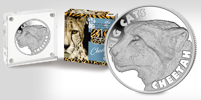 Cheetah Coin Second in 'Big Cats' High Relief 2 oz Silver Series