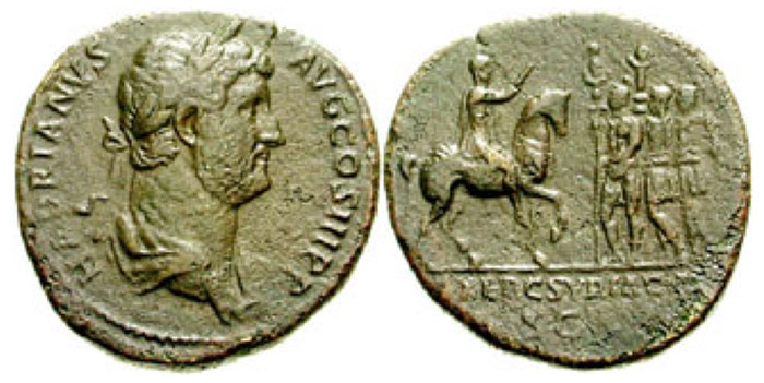 HADRIAN. 117-138 CE. Æ Sestertius (23.90 gm). Struck circa 134-138 CE. Laureate and draped bust right / EXERC SYRIACVS in exergue, Hadrian on horseback right, extending hand to three soldiers standing left before, who hold standards. RIC II 932; BMCRE 1687; Cohen 569 var. (bare-headed bust). Near VF, olive and green patina, light roughness. Rare. ($600)