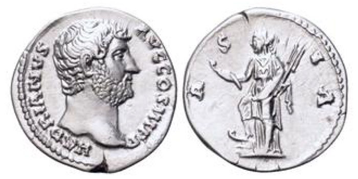 Hadrian AR Denarius. Rome, 134-138 CE. HADRIANVS AVG COS III P P, bare head right / ASIA, Asia standing left, foot on prow, holding hook and rudder. RIC 301; RSC 189. 3.16g, 17mm, 7h.