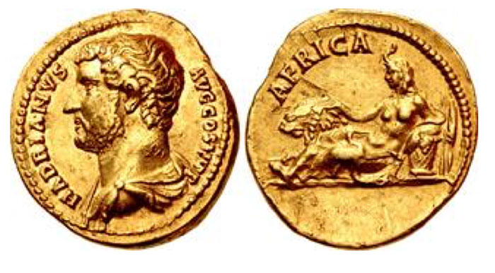 "Hadrian. 117-138 CE. AV Aureus (19mm, 7.11 g, 12h). ""Travel series"" issue. Rome mint. Group 10, circa 130-133 CE. HADRIANVS AVG COS III P P, bareheaded and draped bust left / AFRICA, Africa, draped, wearing elephant-skin headdress, reclining left, placing right hand on neck of lion standing left, and resting left arm on basket of fruits; to right of basket, two stalks of grain. RIC II.3 1490 (same dies)"