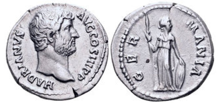 Hadrian AR Denarius. Rome, 134-138 CE. HADRIANVS AVG COS III P P, bare head right / GERMANIA, Germania standing facing, head right, holding spear and shield set on ground. RIC 302. 3.29g, 19mm, 6h.