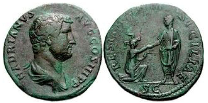 Hadrian. 117-138 CE. Æ Sestertius (24.75 g, 6h). Rome mint. Struck circa 134-138 CE. Bare-headed and draped bust right / RESTITVTORI SICILIAE, Hadrian standing left, holding out his hand to Sicilia, kneeling right, wearing triskelis on head and holding grain ears. RIC II 965; Banti 684. VF, green patina, a few shallow marks on reverse. Extremely rare