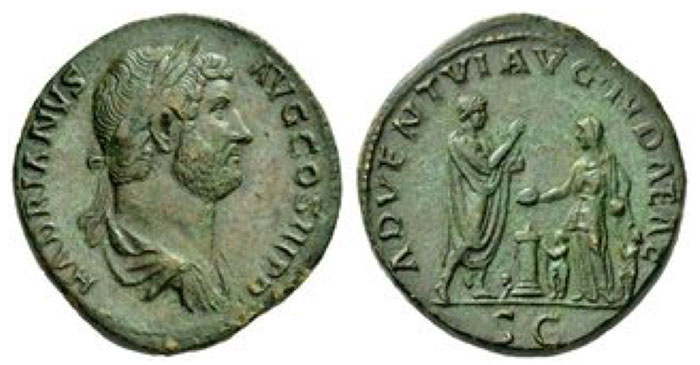 Hadrian, 117 – 138 Sestertius, Roma 134-138, Æ 26.80 g. HADRIANVS – AVG COS III P P Bareheaded and draped bust r. Rev. ADVENTVI AVG IVDAEAE Hadrian, togate, on l., standing r., holding roll and raising r. hand to the personification of Judaea standing l., on r., holding box and patera over altar; at either side of Judaea, two children standing l., holding branch. Behind altar, bull. In exergue, S C. C 54. BMC 1655. RIC 890c. Hendin 1604.