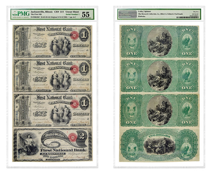 Uncut sheet of four Jacksonville, Illinois First Charter National Bank Notes ($1, $1, $1 and $2) with Serial Number 1, pedigreed to the Grinnell Collection and graded PMG 55 About Uncirculated. (Images courtesy of PMG)