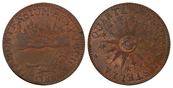 1786 VERMONT Copper (Ryder-7) - Image Credit: PCGS
