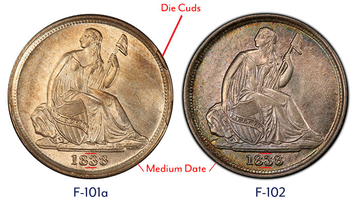 Obverse Die Diagnostics of the 1838-O dime.