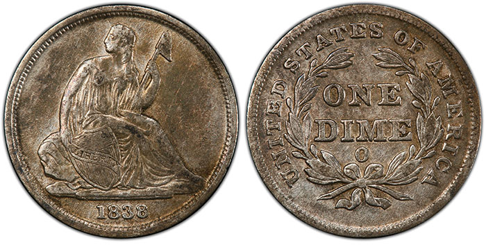 1838-O Seated Liberty Dime from the SS Central America. Image: PCGS