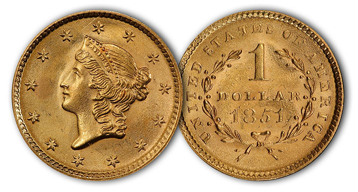 1851 Gold Dollar. Image Courtesy: PCGS