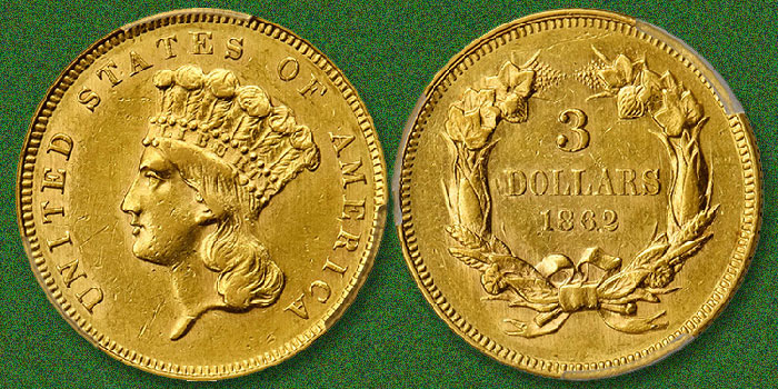 Near Mint 1862 Three Dollar Gold Piece Featured in Stack's Bowers June 2020 Baltimore Auction