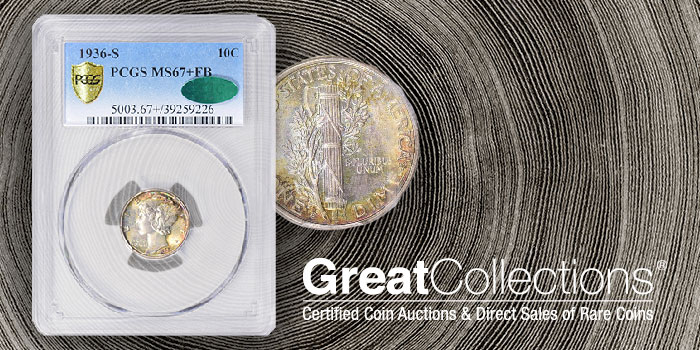 Full Bands 67+ CAC 1936-S Mercury Dime at GreatCollections.com