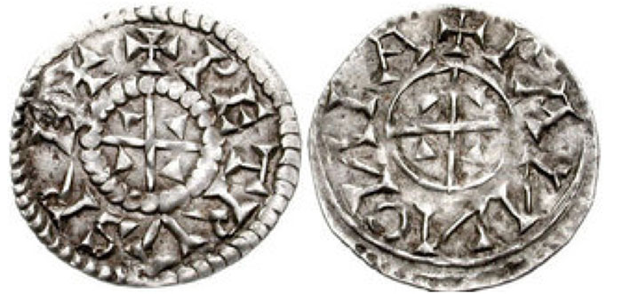 HUNGARY. Peter. 1038-1041 & 1044-1046. AR Penny (17mm, 0.55 g). +PETRVS REX, small cross with wedges in quarters / +PANNONIA (N's retrograde), small cross with wedges in quarters. Huszár 6; Réthy 8.