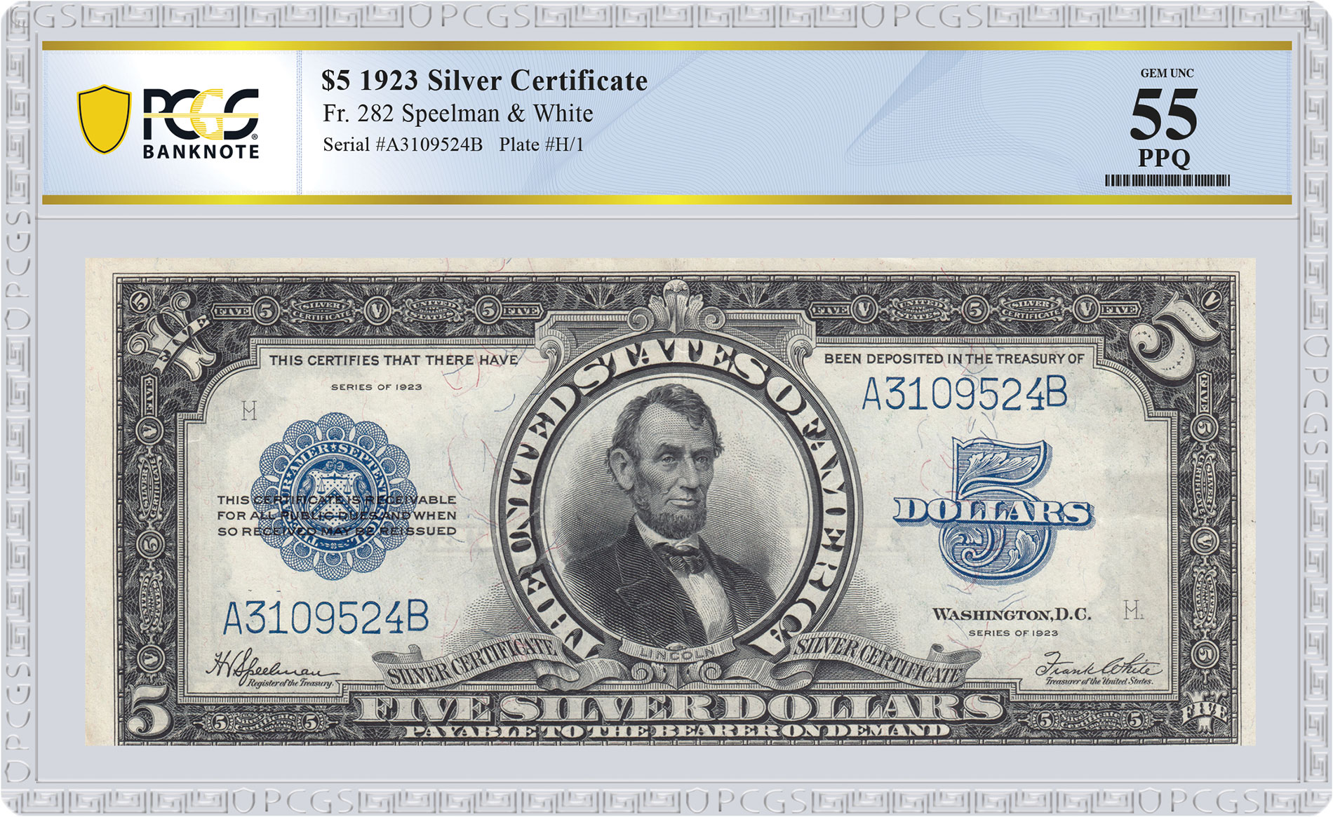 """Notable Notes: The """"Lincoln Porthole"""" $5 Silver Certificate - image courtesy PCGS Banknote"""