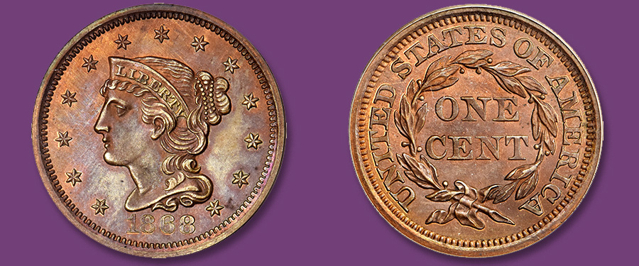 Gem Proof 1868 Judd-611 Pattern Large Cent in Stack's Bowers June Baltimore Auction