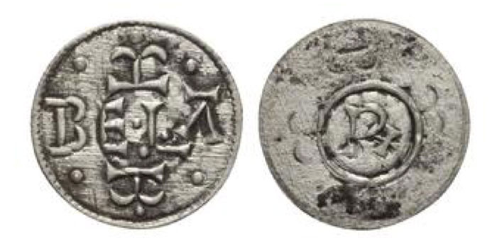 HUNGARY. Béla III. 1172-1196. Æ Rézpénz (23mm, 2.22 g, 4h). Pseudo-Arabic legend on both sides. Huszár 73; Réthy 102. EF
