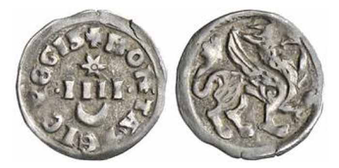 Bela IV., 1235-1270. Denar. 0,37 g. +MONETA BELE REGIS Four strokes, star above, crescent below//Griffin to right Huszar 324.