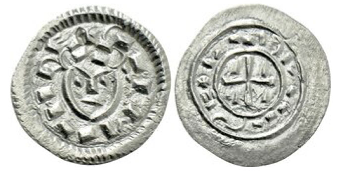 HUNGARY. Coloman (1095-1116). Denar.Obv: + CALMAN RE. Crowned facing head. Rev: + LADLAVS E (S sideways).  Short cross, with edge in each angle. Frynas H.9.10; Huszár 32. 0.35 g. 12 mm.